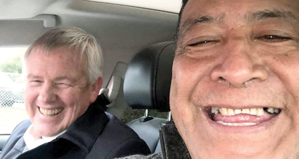Marlborough Mayor John Leggett gave Mike Tahere and his wife a lift from the airport. Photo: Supplied.