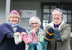 Blenheim School principal Denyse Healy with St Andrew's Craft Group members Dicky Willemsen and Raewyn Buchanan. Photo: Matt Brown.