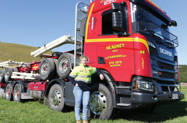 Heagney Bros chief executive Mickayla Kerr with their new Scania logging truck. Photo: Matt Brown.