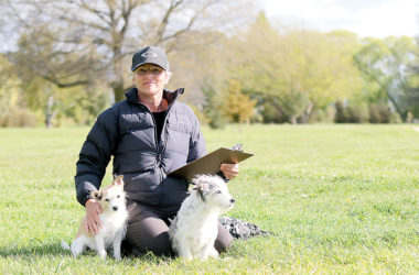 Petition organiser Mia Yealands with her terriers, Archie and Wolf. Photo: Matt Brown.