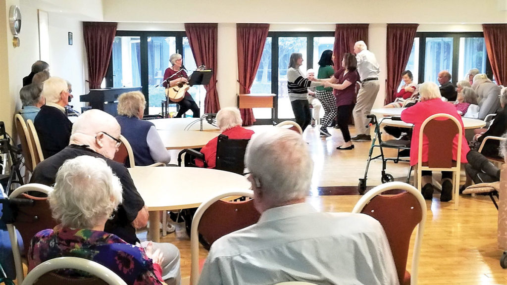 Staff have been using their talents to keep residents entertained. Photo: Paula Hulburt.