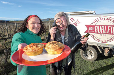 The Burleigh's Jane Dickenson, left, and Pie Challenge organiser Fiona Fenwick closely examine a Burleigh pie in the buildup to this year's challenge. Photo: Anthony Phelps/Phelps Photography.
