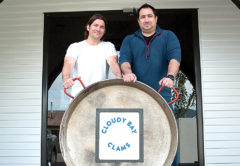 Aaron and Isaac Piper from Cloudy Bay Clams are helping raise money for charity with a giant paella. Photo: Paula Hulburt.