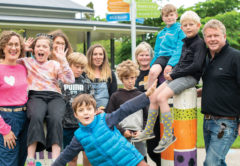 Two generations of Whitney Street School pupils are looking forward to fireworks fun this Saturday night. Pictured from left are Naomi Barton and daughter Emilia, Deborah Barton, whose son Sidney is in the foreground, Huia Crosby with sons Maui and Tamiti, Andrea Craig with son Sam, and Jeff Valk with son George. Photo: Supplied.