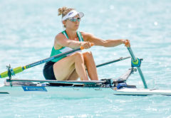 Sophie Mackenzie, in Wairau colours, at the 2019 NZ rowing champs. Photo: Rowing NZ.