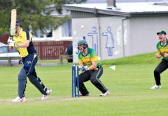 Wairau Valley batsman Tim Abrahams is bowled by Celtic spinner Josh Poole during the one-day final at Horton Park on Saturday. Photo: Peter Jones.