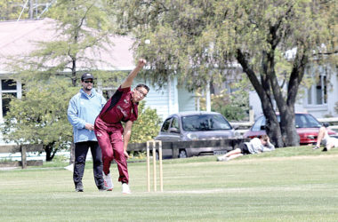 Marlborough bowler Joel Pannell sends down another delivery from the southern end of Horton Park. Photo: Peter Jones.
