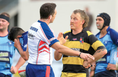 Marlborough referee Tom Holohan discusses a point of law with Waitohi skipper Jimmy Giles during the Marlborough sub-union final at Lansdowne Park last season. Photo: Supplied.