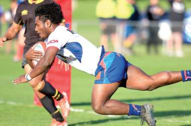 Tasman winger Timoci Tavatavanawai dive acroos the line for the match-deciding try. Photo: Shuttersport.