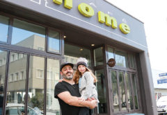 Geoff Pybus and daughter, Ever, at the soon to be rebranded Cafe Home. Photo: Matt Brown.
