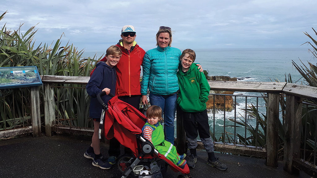 Lee with wife Ally and his three sons, Harry, Isaac and George. Photo: Supplied.