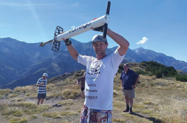 Lee Griggs after pogoing up Mount Fyffe in Kaikoura. Photo: Supplied.