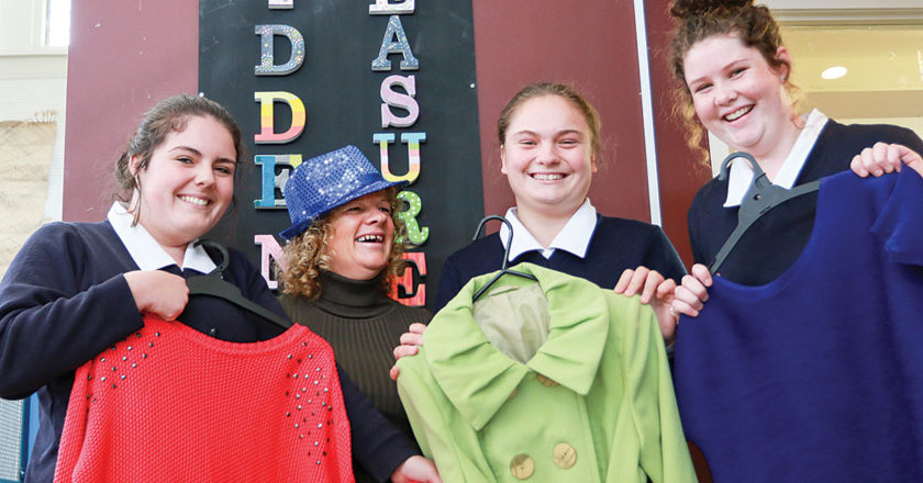 Volunteers, from left, Breanna Holt, Michelle Dawson, Olivia Cooke and Sophia Wills have started a thrift shop. Photo: Paula Hulburt.