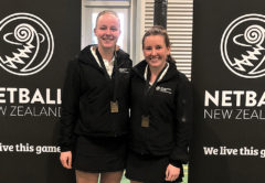 McKynlee Breen, left, and reserve umpire Kate Fraser after the national under-17 final. Photo: Supplied.