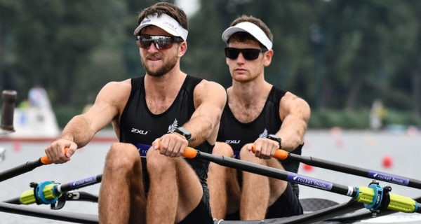 Harrison Somerville, right, will contest the lightweight men's double at the world champs. Photo: Rowing NZ.