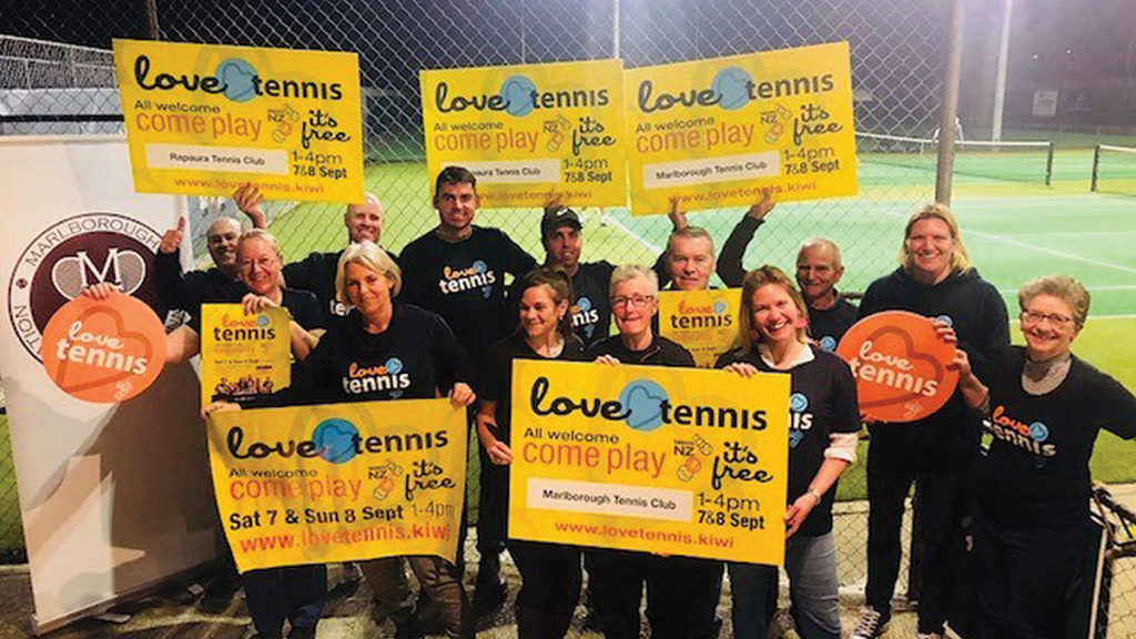 """Members of the Marlborough TC get right behind the """"Love Tennis"""" promotion. Photo: Supplied."""