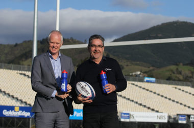 Nelson Marlborough Health chief executive Peter Bramley and Tasman Rugby Union's commercial and marketing manager Les Edwards celebrate their recent health partnership. Photo: Sara Hollyman.