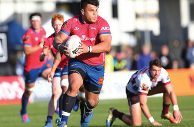 Centre Levi Aumua was a powerful presence in the Tasman midfield at Trafalgar Park. Photo: Shuttersport.
