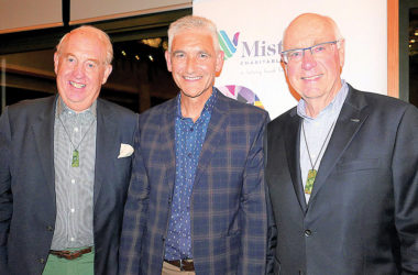 From left, Mistletoe Bay Trust vice-patron John Stace, Mistletoe Bay Charitable Foundation chairman Simon Heath and patron Sir Stephen Tindall. Photo: Supplied.