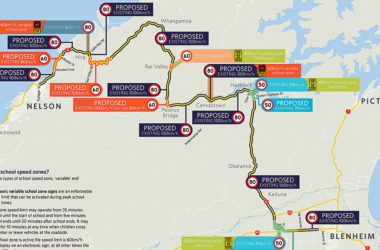 A map showing the proposed changes to the speed limit on State Highway 6 between Blenheim and Nelson. Graphic: NZTA.