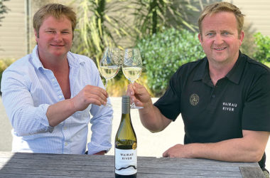Wairau River winemaker Same rose and viticulturist Hamish Rose toasting to their Champion Sauvignon Blanc. Photo: Supplied.