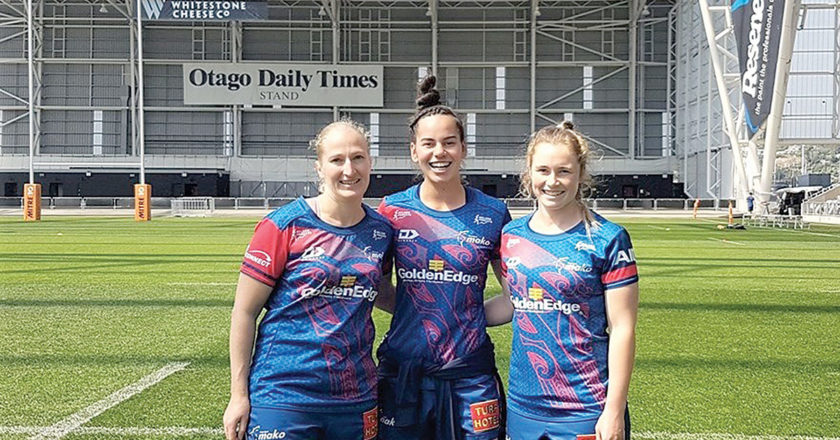 Tasman players Hannah Gillespie, Hayley Hutana and Jordan Foster take a look around Forsyth Barr Stadium before playing Otago there on Saturday. Photo: Supplied.