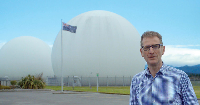 GCSB director-general Andrew Hampton outside Waihopai Station. Photo: Supplied.