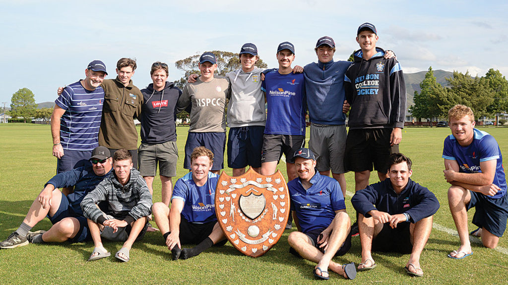 The victorious Nelson side with the coveted Newman Shield. Photo: Peter Jones.