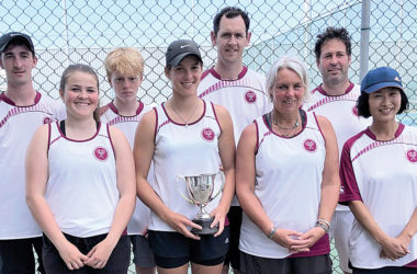 The victorious Marlborough tennis team. From left: Cameron Lyons, Sina Walter, Oscar Sandford-Jury, Jade Otway, Hamish Morrow, Eveline Apthorp, Hamish McRae, Meiko Kimura. Photo: Supplied.