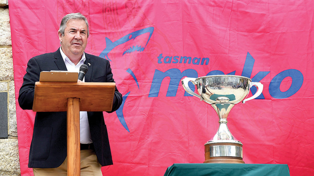 Tony Lewis with the Mitre 10 Cup. Photo: Supplied.