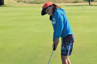 Pippa Minhinnick from Rarangi putts during the nine-hole competition. Photo: Supplied.