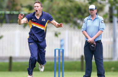 Falcons' bowler Chris Turkington in action against ACOB on Saturday. Photo: Evan Barnes/Shuttersport.