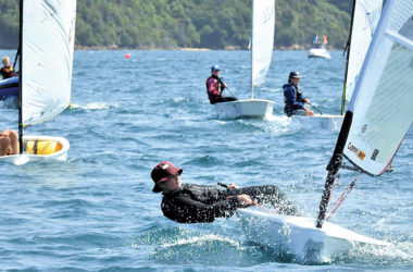 QCYC sailor Indio McNab in an open skiff. Photo: Supplied.