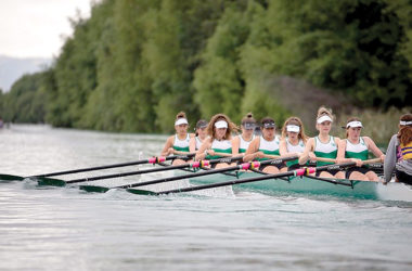 The MGC under-17 eight. From right, cox Lara Bacchus, Meg Flanagan, Kelsey Daldorf, Maggie Lane, Georgia Macdonald, Lily Crawford, Liv Thoedore, Cleo Ingram, Paige Materoa. Photo: Supplied.