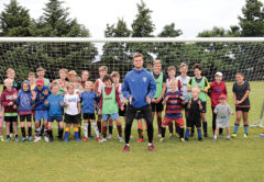 When Tasman United take on Southern United at Lansdowne Park on Saturday, local goalkeeper Nick Stanton will have plenty of local support behind him. Yesterday he and midfielder Corey Vickers facilitated a Holiday Programme session for a large and enthusiastic group of young footballers at A and P Park. Photo: Peter Jones.