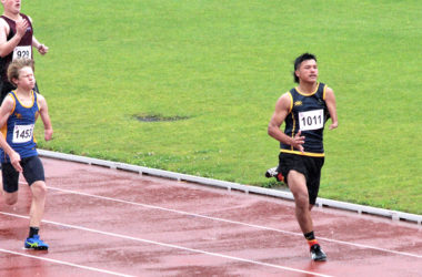 Nikau Peipi stretches out during the 100m at the national schools champs. Photo: Supplied.