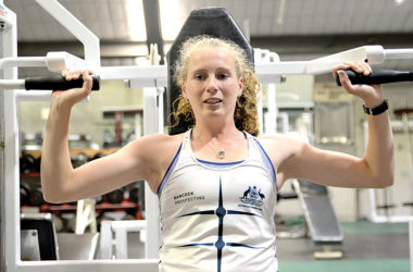 Weights sessions are a part of rower Phoebe Trolove's training programme. Photo: Peter Jones.