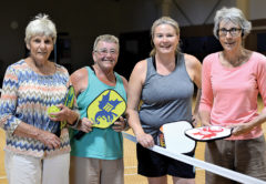 Pickleball players, from left, Val McMurtry, Carol Stanton, Lowri McNabb and Annie Percy. Photo: Peter Jones.