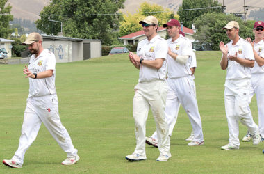 The Marlborough players clap medium-pacer Sam Boyce from the field after his five-wicket haul at Horton Park on Saturday. Photo: Peter Jones.