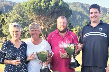 The winning duos, from left, Di McCarthy, Rete Kydd, John Billingsley and Sam Rainbird. Photo: Supplied.