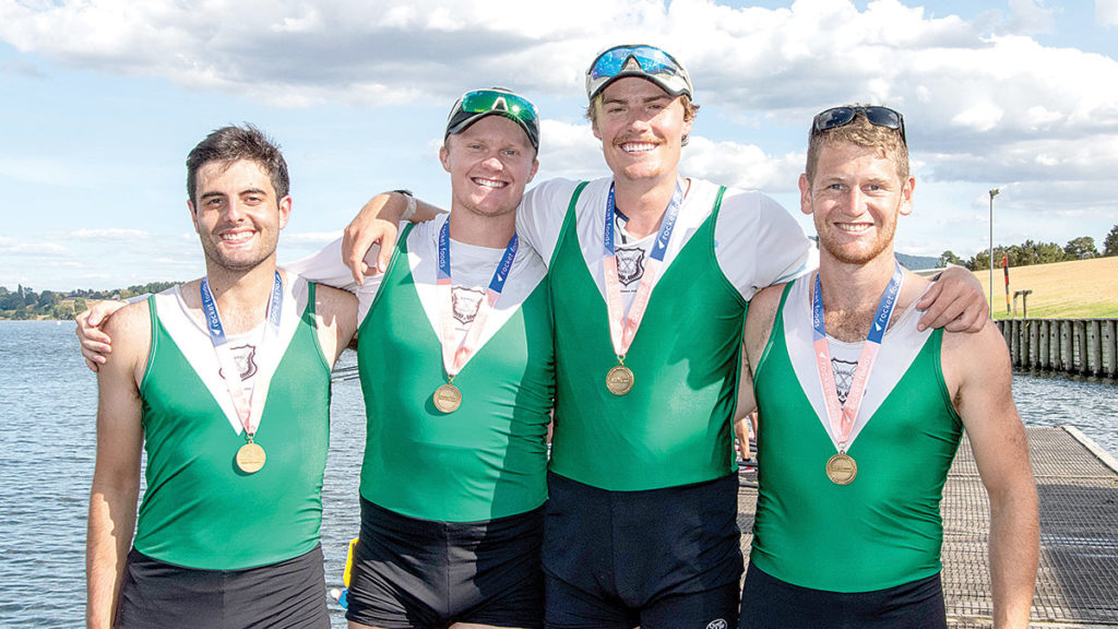 The title-winning Wairau premier quad, Jordan Gasson, Rhys Krappe, Sebastian Krappe and Harrison Somerville. Photo: Rowing NZ.