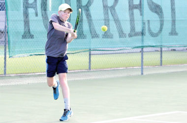 Youngster Joseph Sandford-Jury was an integral part of the victorious Renwick tennis team, winning both his singles and doubles matches. Photo: Peter Jones.