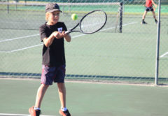 Max Sowman plays on the backhand. Photo: Supplied.