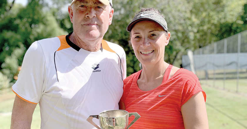 Hugh Robinson and Donna Clark won the mixed doubles title. Photo: Supplied.