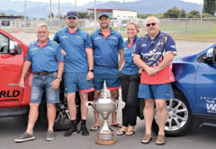 The Marlborough-based Tasman Rugby Union staff, from left, Graeme Taylor, Dan Monaghan, Gray Cornelius, Wendy Lindstrom and Dave Paterson, with the Mitre 10 Cup. Photo: Peter Jones.