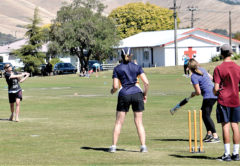 Big-hitting Danni Mete, from the victorious Pino Balls team, slams another boundary. Photo: Peter Jones.