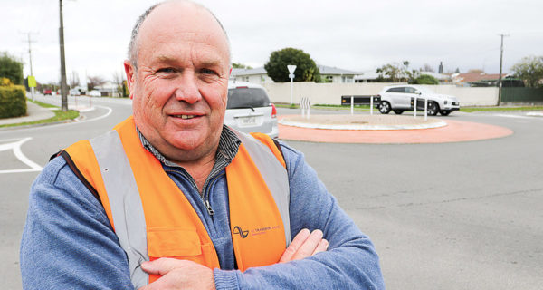 Marlborough Roads manager Steve Murrin at the soon-to-be upgraded roundabout near Redwoodtown. Photo: Matt Brown.