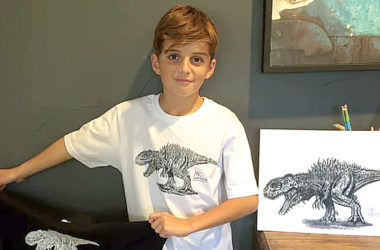Designer Makai Cresswell has turned his passion for dinosaurs into a design business. Photo: Supplied.