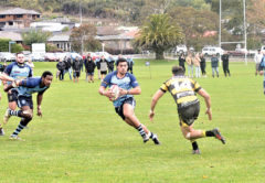 Central midfielder Nigel Satherley spies a hole in the Waitohi defence in Picton on Saturday. Photo: Peter Jones.