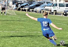 BV Bullets player Kirsten Pease lines up a shot at goal during her side's 4-1 win over FC Nelson on Saturday. Photo: Supplied.